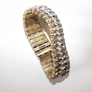 J.Crew Diamond Gold Stretch Link Bracelet